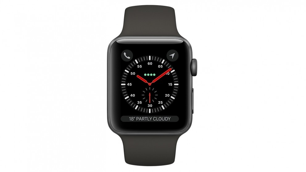 size 40 da375 3bac7 Apple Watch Series 3 - 38mm Space Grey Aluminium Case with Grey Sport Band  - GPS + Cellular