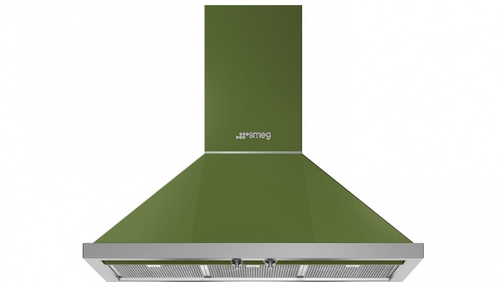 Smeg 900mm Portofino Wallmount Rangehood - Olive Green