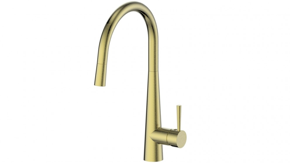Greens Galiano Gooseneck Pull Down Sink Mixer - Brushed Brass