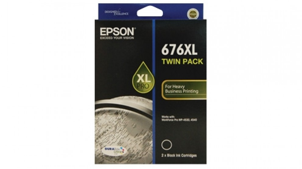 Epson 676XL Twin Pack Black Ink Cartridge