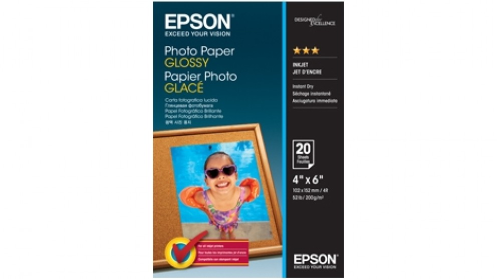 """Epson 4"""" x 6"""" Glossy Photo Paper - 20 Sheets"""