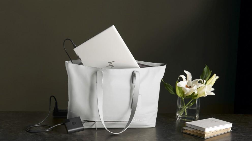 "HP 15.6"" Tech Tote Premium Leather Laptop Handbag - White"