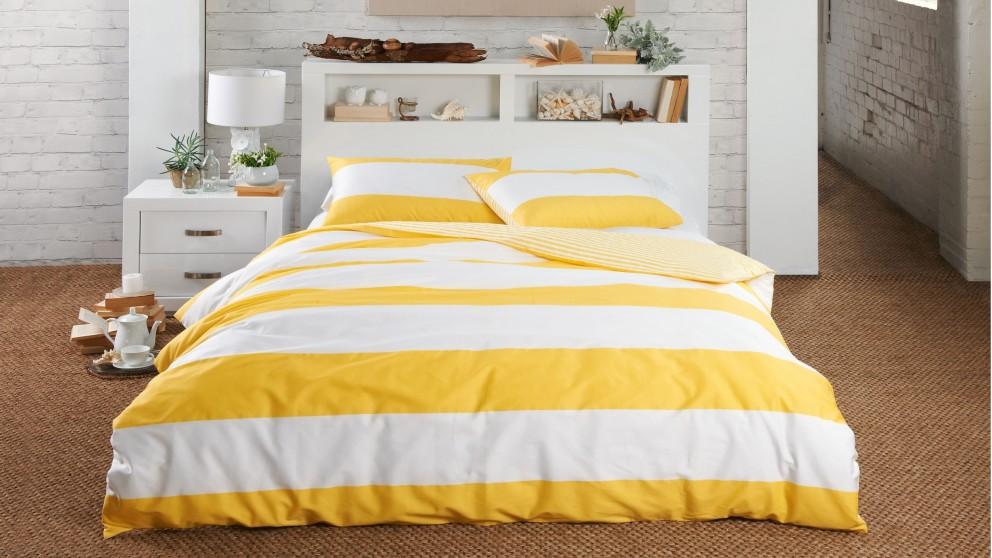 Norfolk Stripe Yellow Quilt Cover Set - Queen