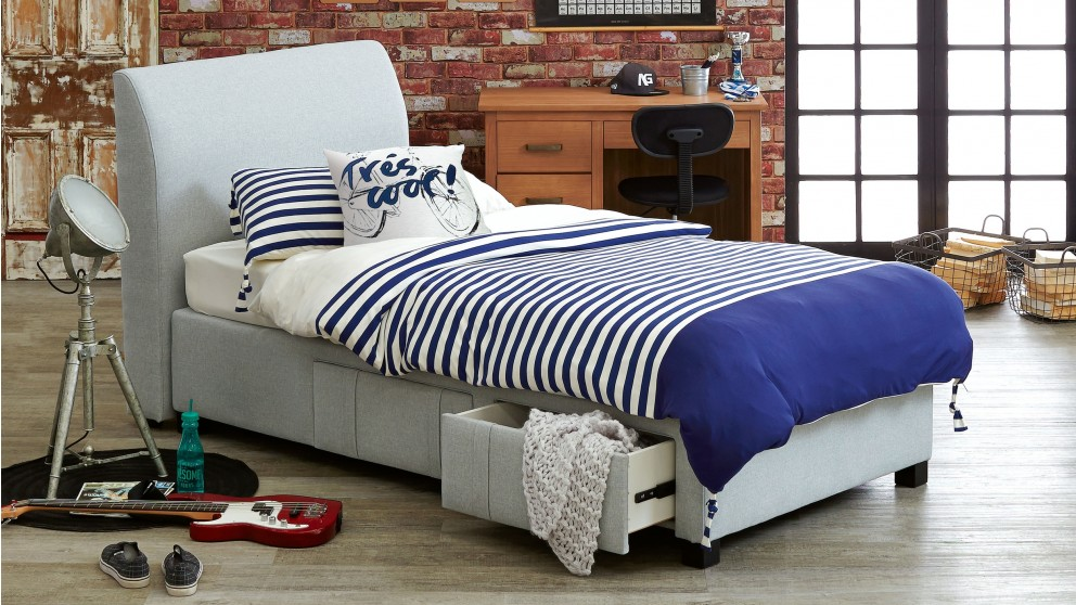 Jett King Single Bedhead With Storage Drawer Base Kids
