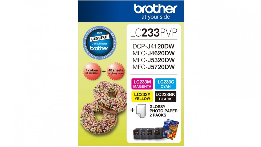 Brother LC-233 Ink and Photo Paper Pack - Black/Cyan/Magenta/Yellow