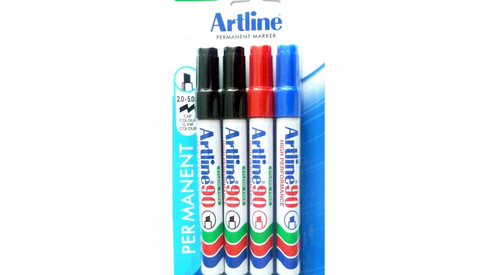 Artline 90 Permanent Markers 4 Pack