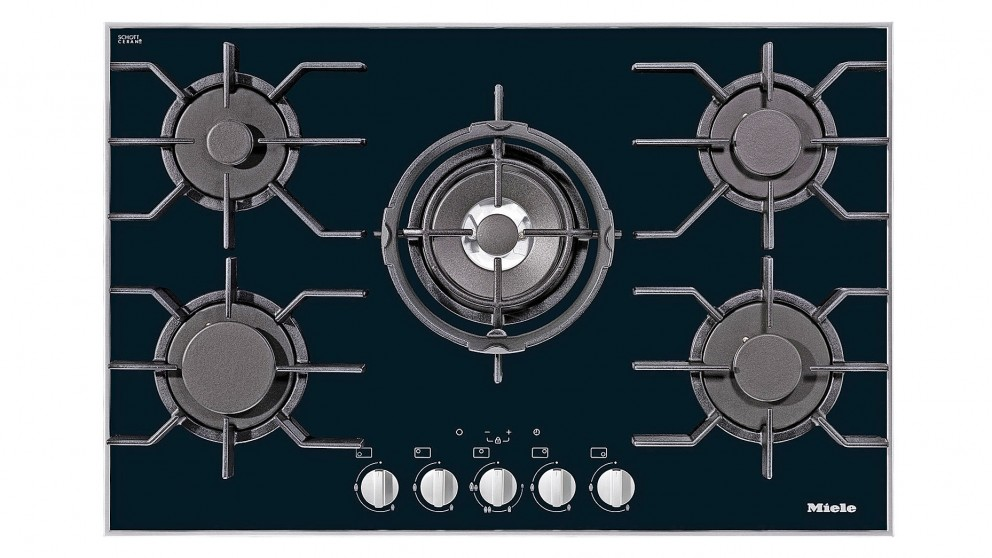 Miele 806mm Gas Cooktop - Black Glass