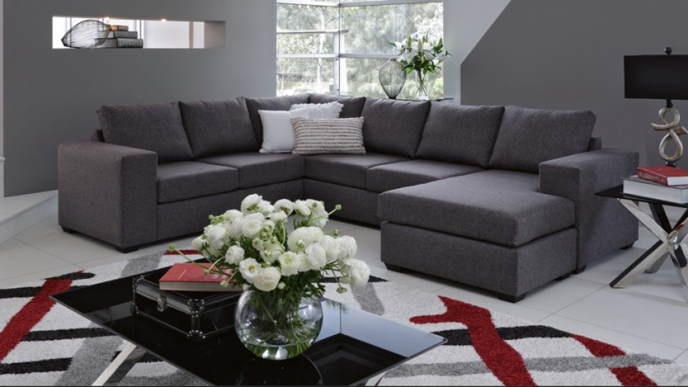 buy hellet fabric corner lounge with chaise and sofa bed harvey