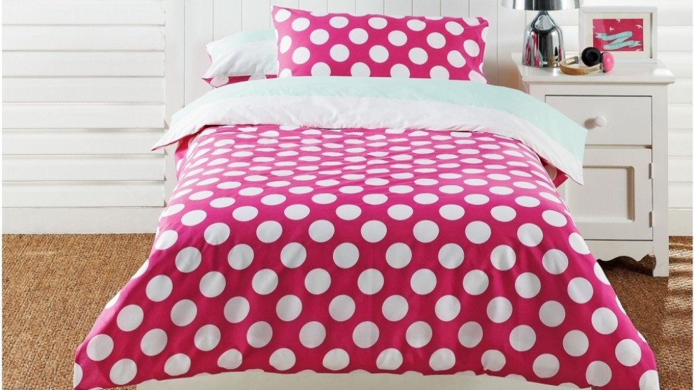 Polka Dot Pink Quilt Cover Set - Queen