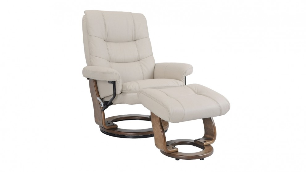 Alta Leather Swivel Recliner and Footstool