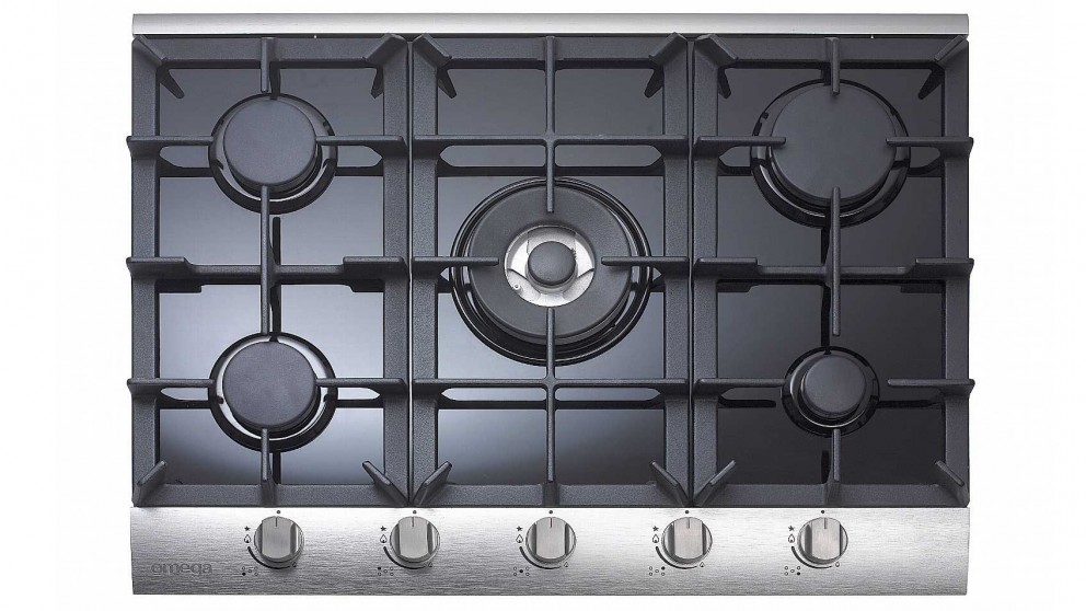 Omega 700mm 5 Burner Gas Cooktop - Black