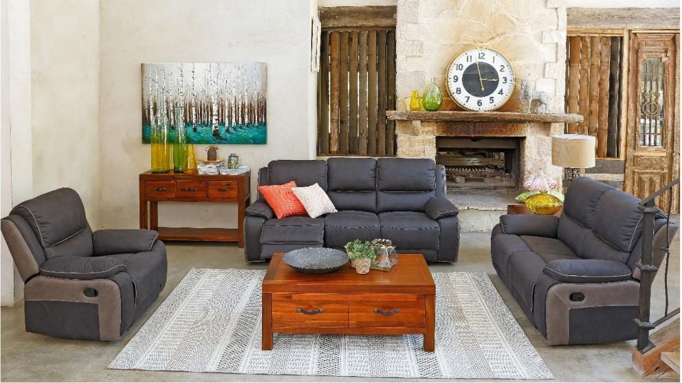 Klarkson 3 Piece Fabric Recliner Lounge Suite