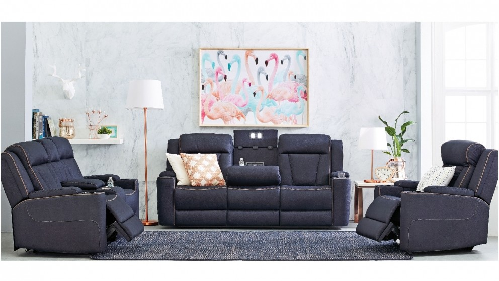 Buy trinity 3 seater fabric lounge powered recliner harvey norman au Home furniture packages australia