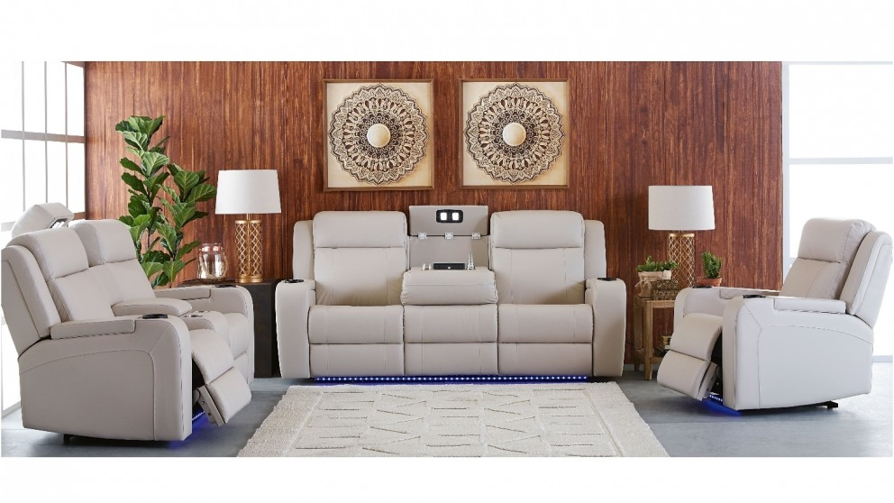 Marina 3 Seater Powered Recliner Leather Sofa Lounges Living Room Furniture Outdoor