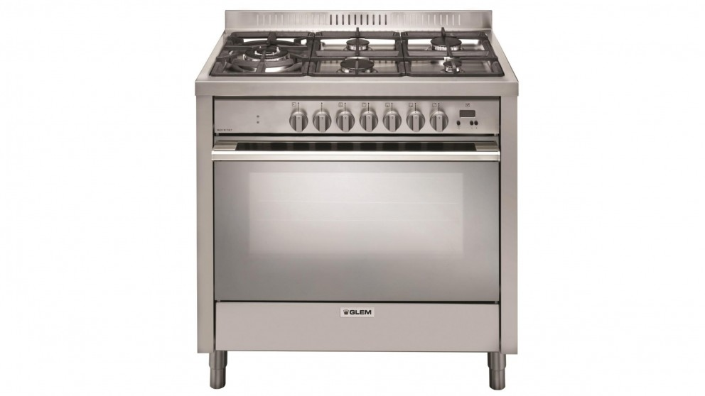 Glem 900mm Freestanding Dual Fuel Upright Cooker - Stainless Steel