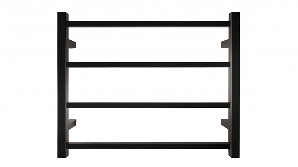 Forme 4 Bar Square Heated Towel Rail - Black