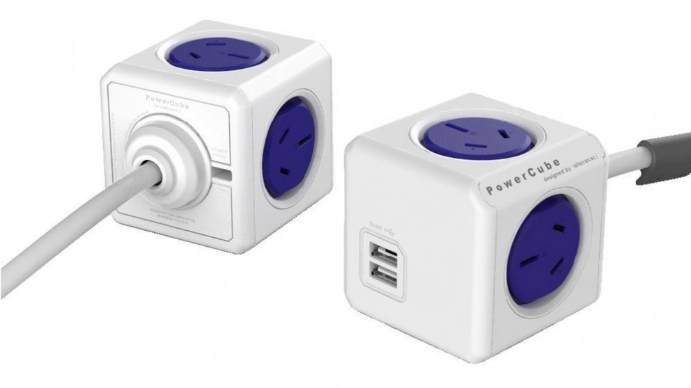 Allocacoc Powercube Extended USB with 3m Cable - Blue
