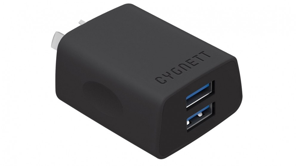Cygnett Flow+2.4 AMP Dual USB Wall Charger - Black