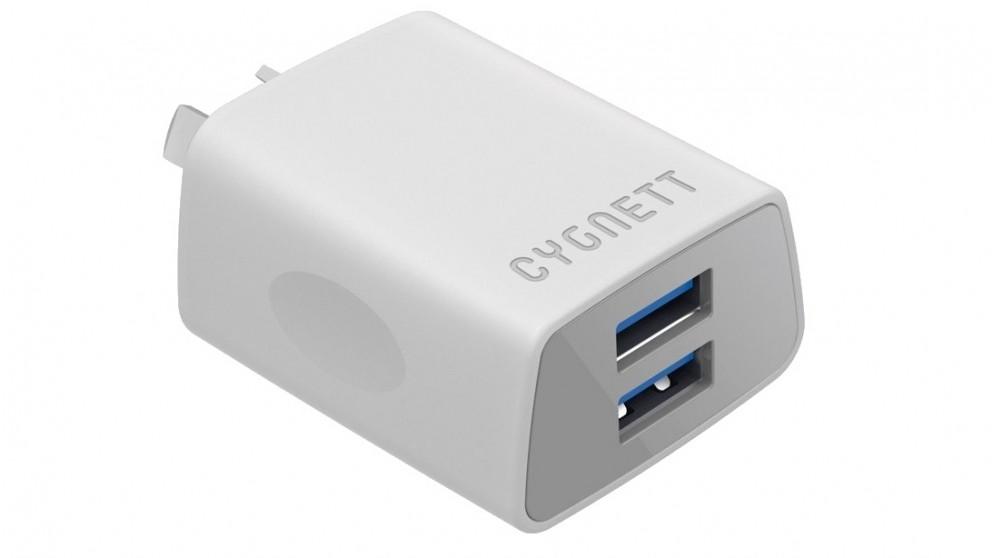 Cygnett +2.4 AMP Dual USB Wall Charger - White