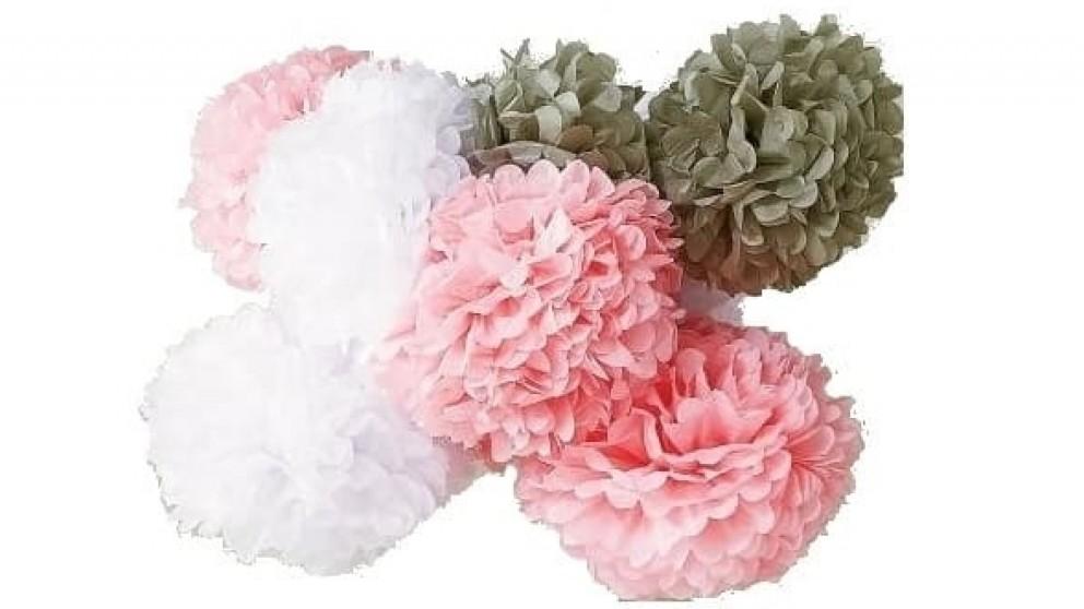 Set of 5 Tissue Medium Pom Poms - Grey