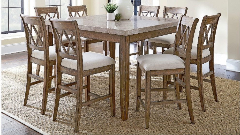 Dunedin 9 piece high dining suite dining furniture for Outdoor furniture harvey norman
