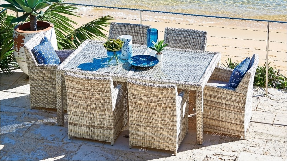 Buy belbora 7 piece dining setting harvey norman au for Outdoor furniture harvey norman