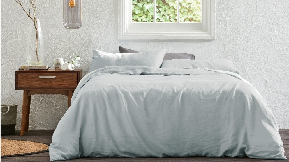 Brooklyn Light Grey Quilt Cover Set - Queen