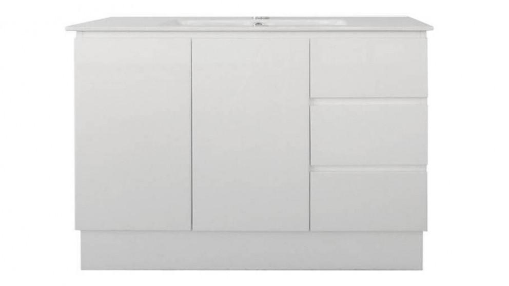 Ledin Jane 1200mm Evolution Right Hand Drawers Oval Top Vanity - White