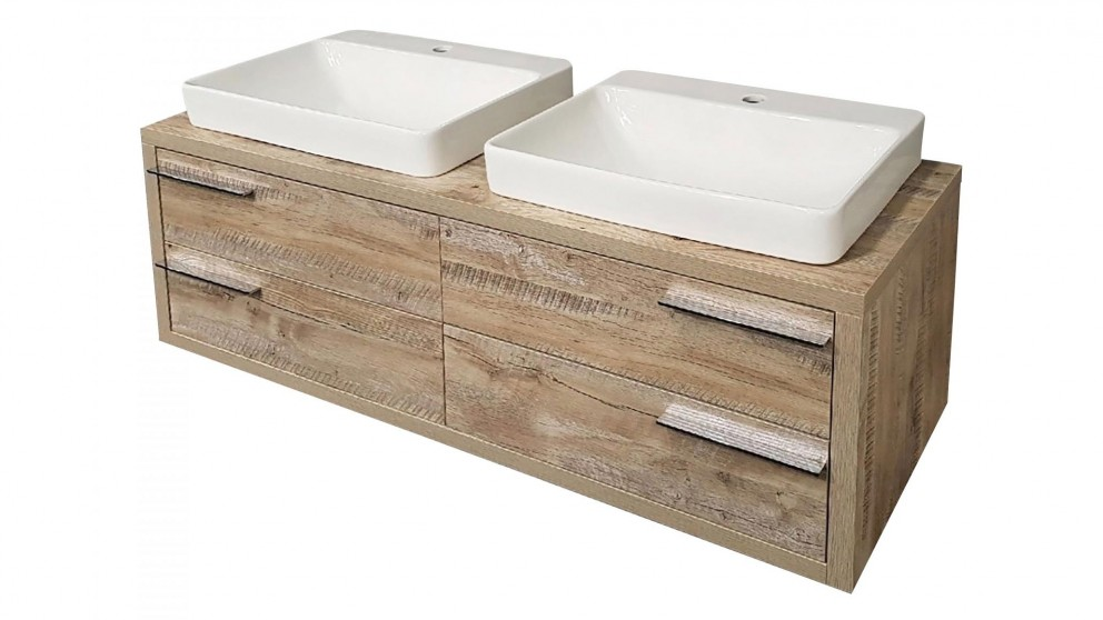 Forme Neo 1400mm Honey Ash Double Bowl Wall Hung Vanity
