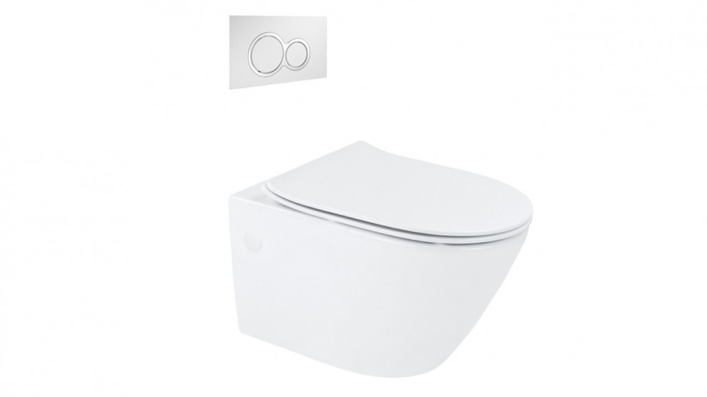 Arcisan Synergii Wall Hung Pan with In Wall Cistern and Kibo Chrome Flush Panel