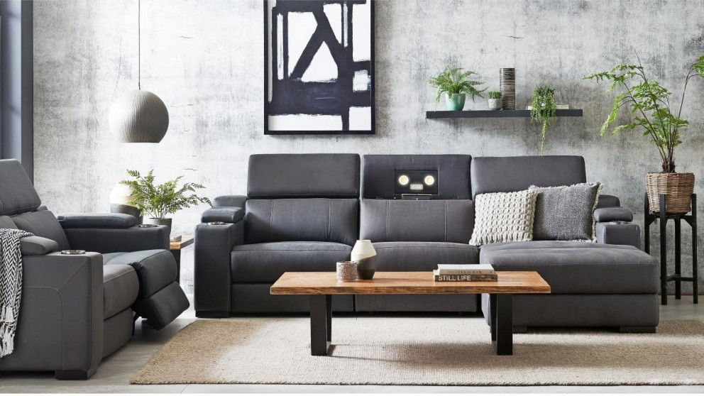 Charmant Seattle 3 Seater Powered Fabric Recliner Sofa With Chaise