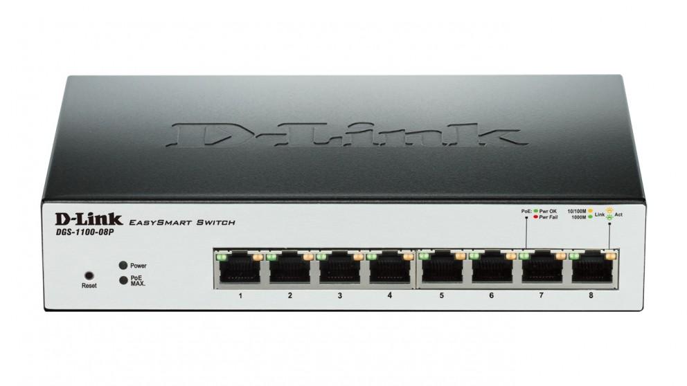 D-Link 8-Port Gigabit EasySmart PoE Switch