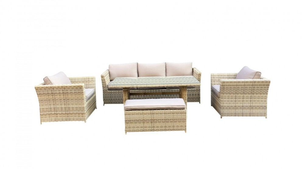 Buy belbora 5 piece outdoor rectangular lounge dining for Outdoor furniture harvey norman