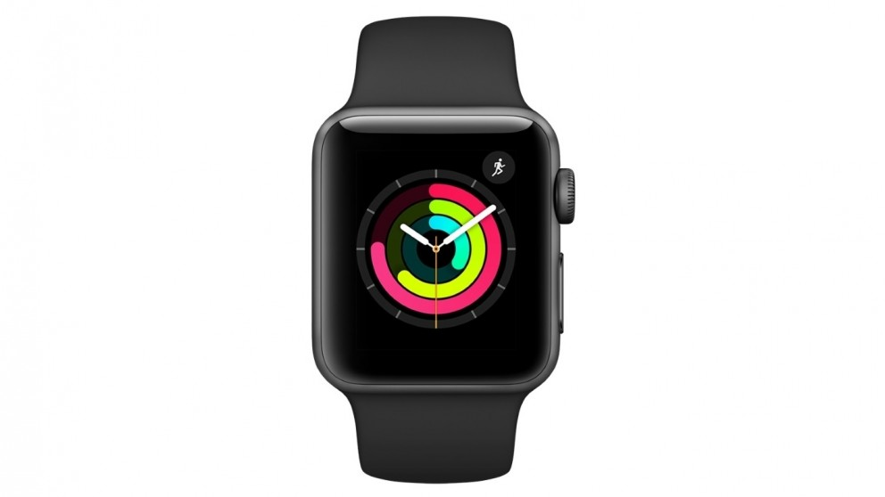 Apple Series 3 GPS Watch - 38mm Space Grey Aluminium Case with Black Sport Band