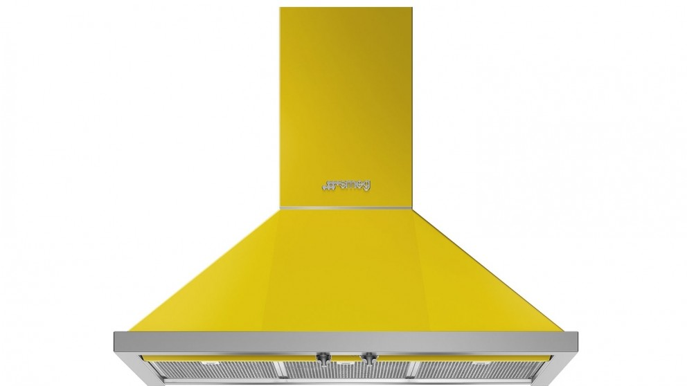 Smeg 900mm Portofino Wallmount Rangehood - Sunshine Yellow
