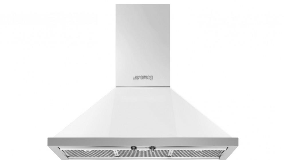 Smeg 900mm Portofino Wallmount Rangehood - White