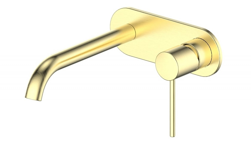 Gisele Wall Basin Mixer with Plate - Brushed Brass