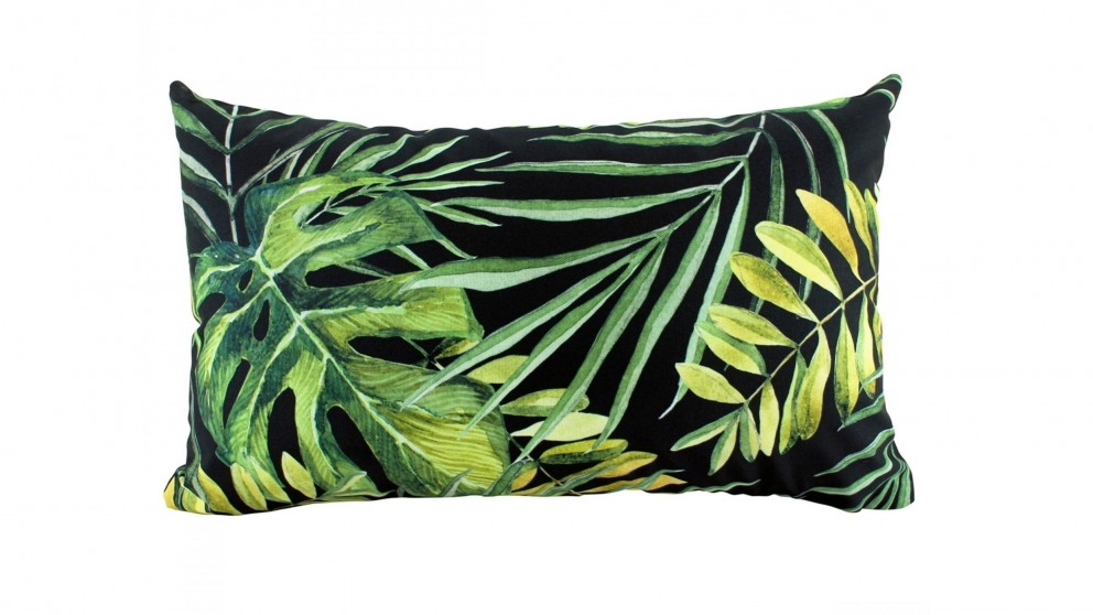 Monstera Rectangular Black Outdoor Cushion