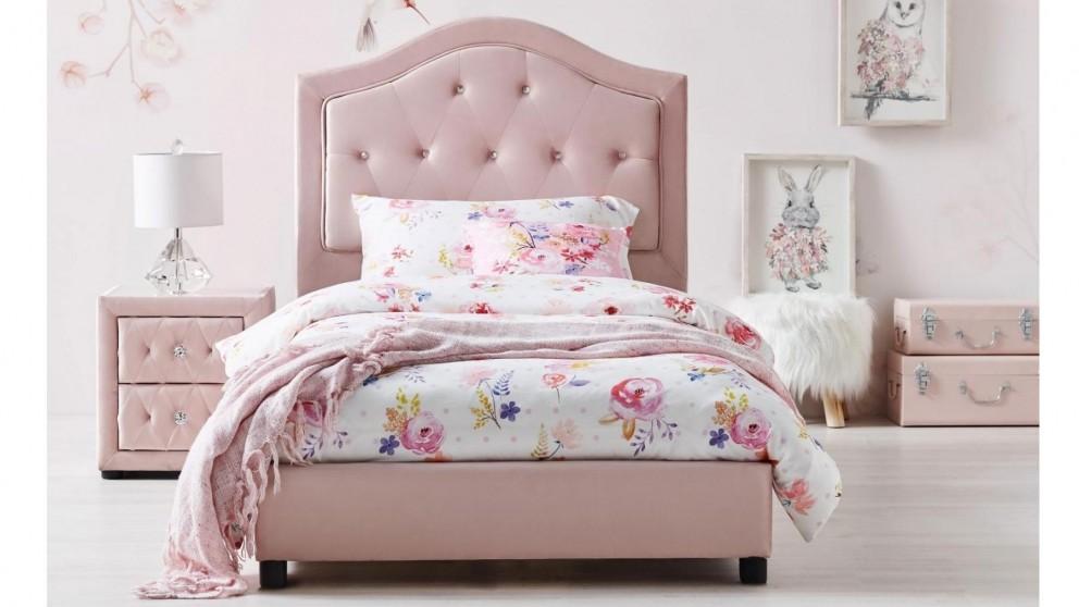 Emily Bed Harvey Norman Au, Pink Upholstered Bed Frame Australia