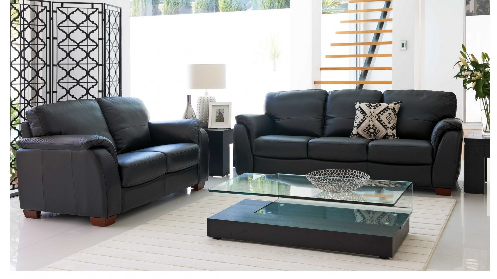 Buy alyssa 2 piece leather lounge suite harvey norman au for Leather living room suit