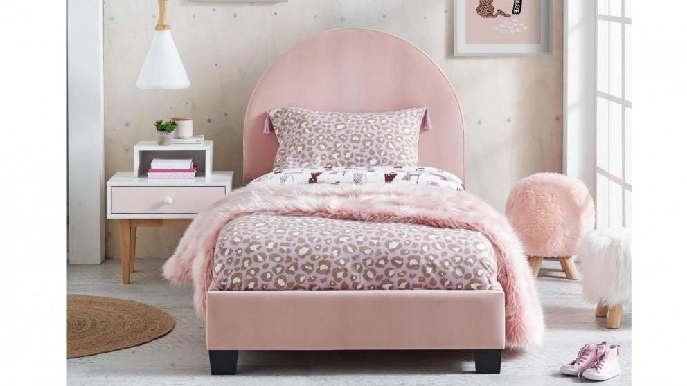 Chloe Pink Bed King Single, Pink Upholstered Bed Frame Australia