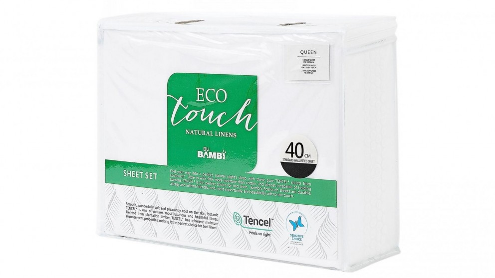 Bambi Eco Touch Tencel White Sheet Set - Queen