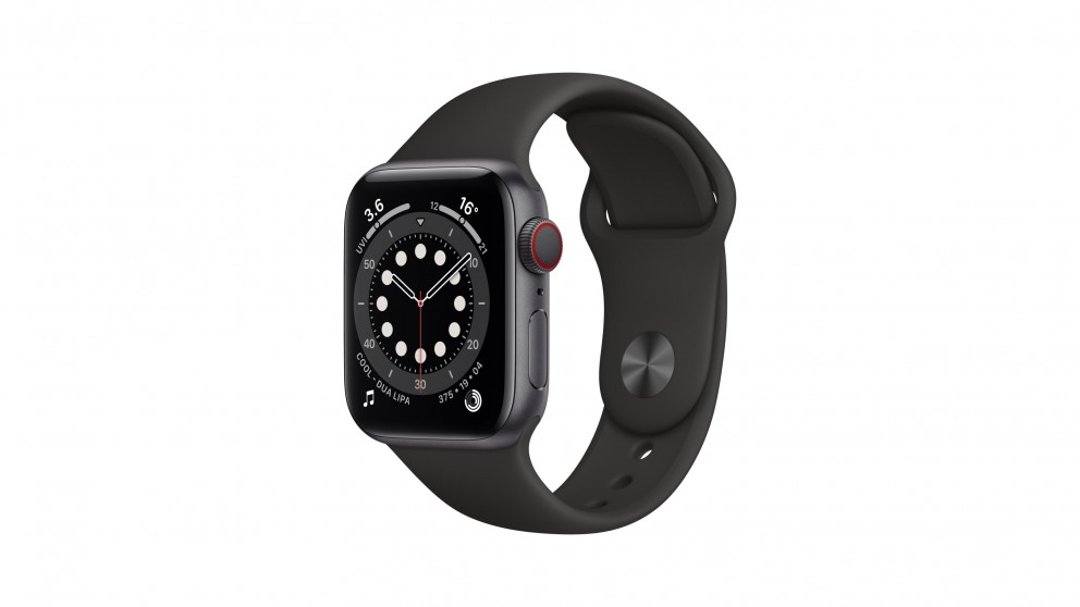 Apple Watch Series 6 44mm Space Grey Aluminium Case with Black Sports Band - GPS + Cellular