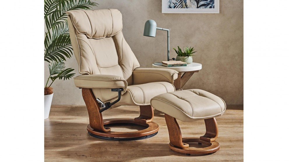 Orebro Leather Recliner Chair and Footstool - Khaki