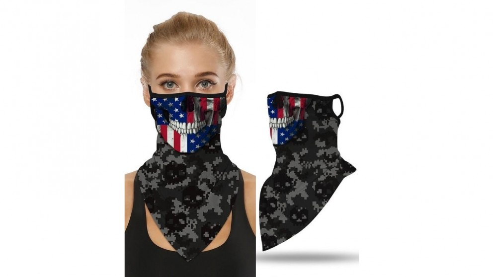 Mani Sports Breathable Face Mask USA Skull Flag with Ear Loop
