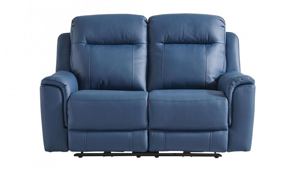 Blaxland 2-Seater Leather Powered Recliner Sofa - Navy