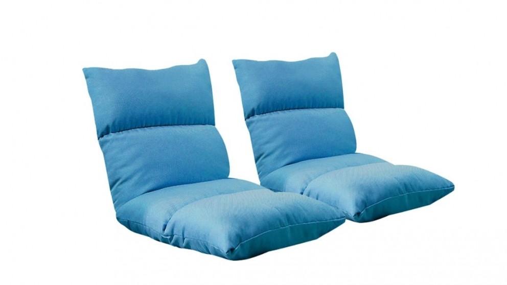 SOGA 2x Floor Recliner Lazy Sofa - Blue