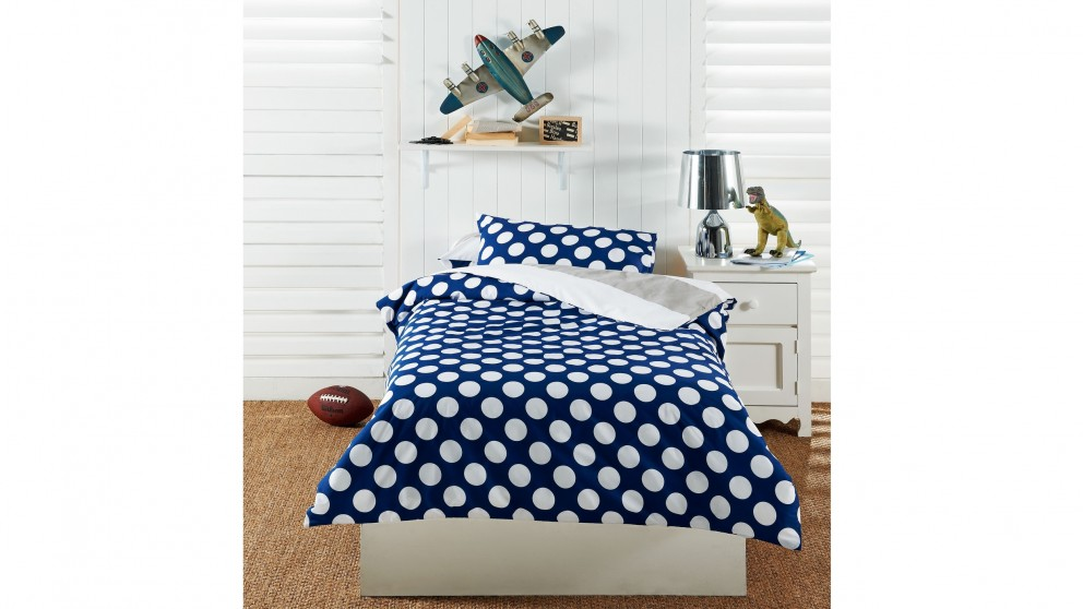 Polka Dot Blue Quilt Cover Set - Queen