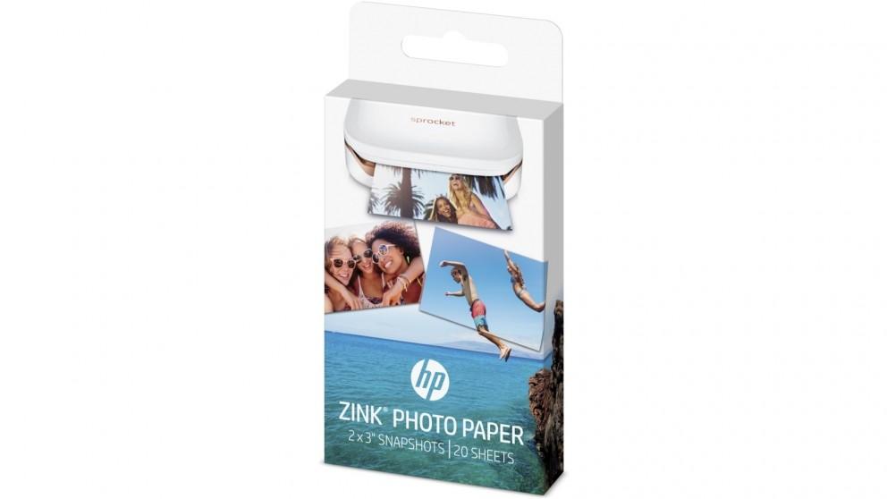 """HP Sprocket Zink Sticky-Backed 2x3"""" 20 Sheet Photo Paper"""