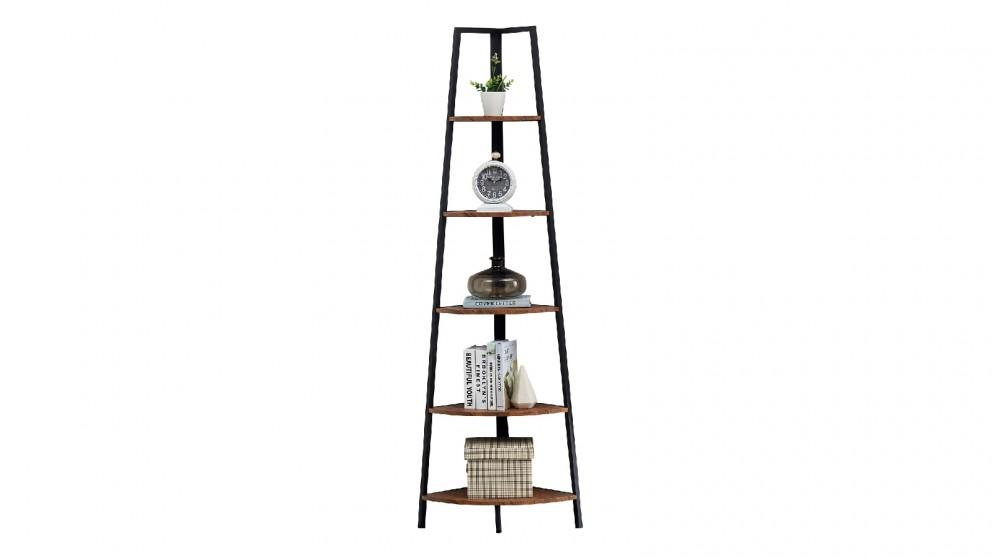 iHomdec 5 Tier A-Shaped Industrial Corner Shelves Bookcase Retro - Brown